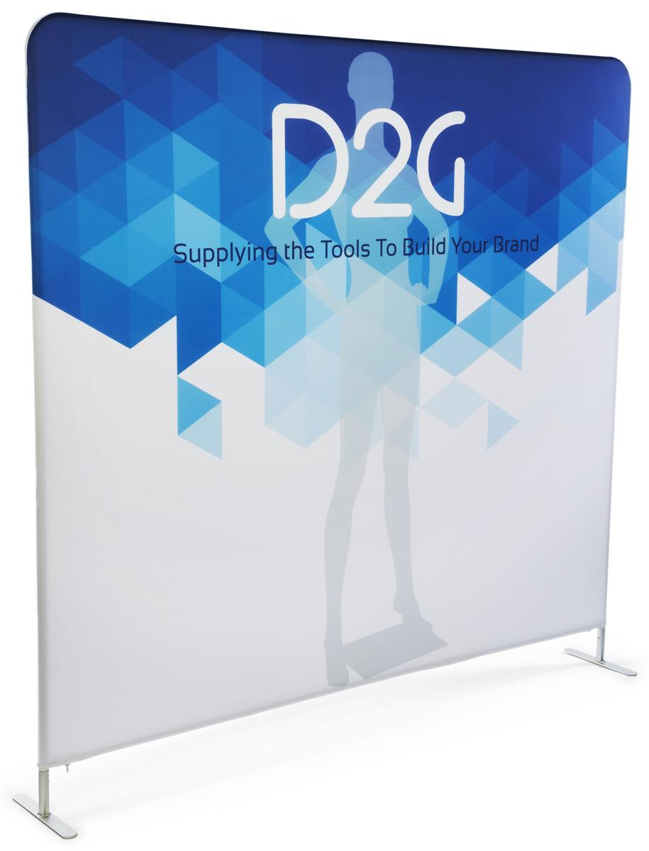 Portable Exhibition Banners : Double sided 8 wide banner backdrop full color graphics