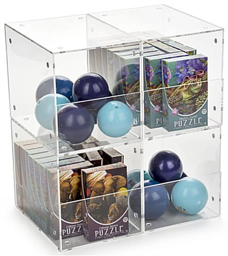 Transparent Set of 4 Plastic Display Containers