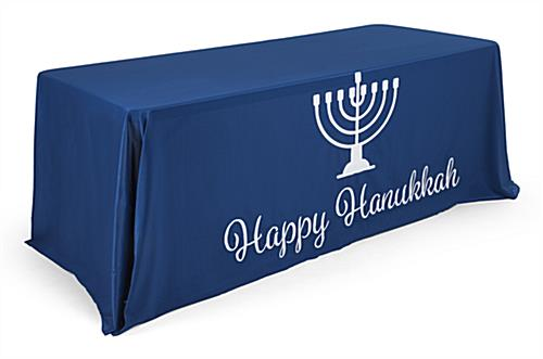 "6' ""Happy Hanukkah"" cloth table cover with pre-printed graphics"