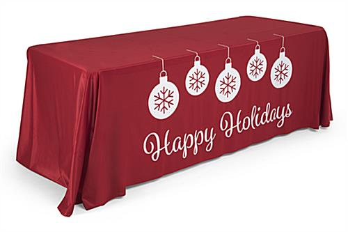 "Red 6' ""Happy Holidays"" imprinted table cover"