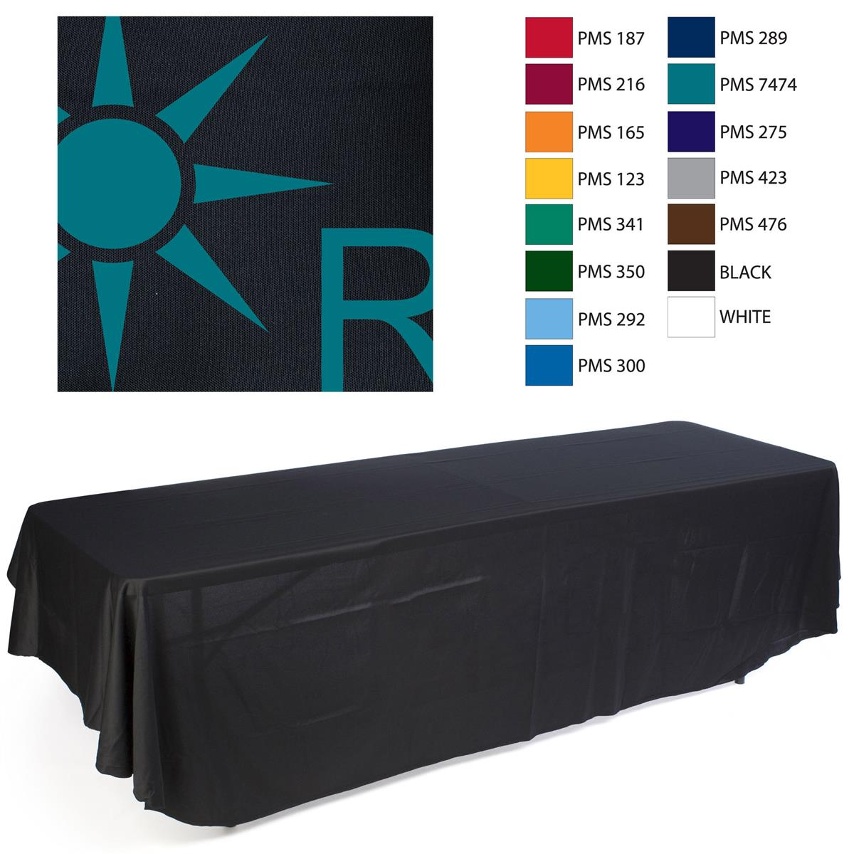Imprinted Table Cloth Printed Table Throw: Black with 1 Color Logo