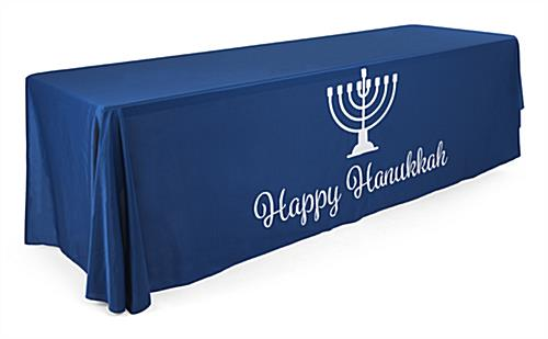 "8' ""Happy Hanukkah"" cloth table cover with visual"