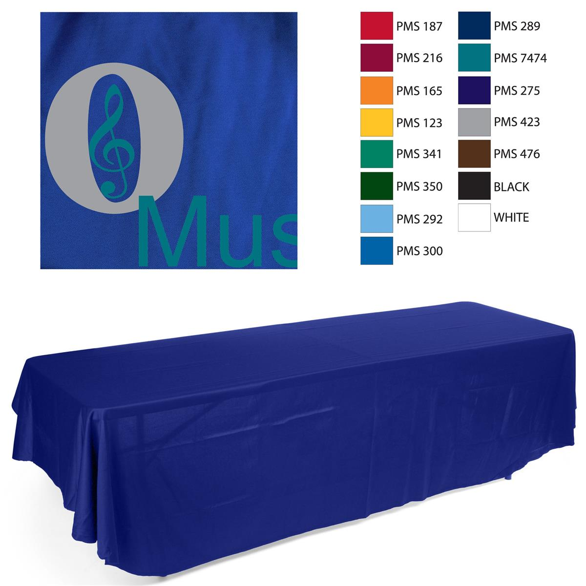 Imprinted Table Cloth Imprinted Table Throw | Royal Blue Cover with Custom Print