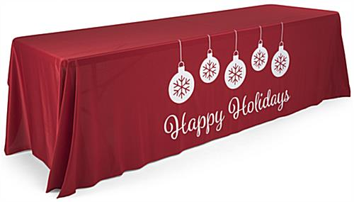 "8' ""Happy Holidays"" imprinted table cloth with ornament visuals"