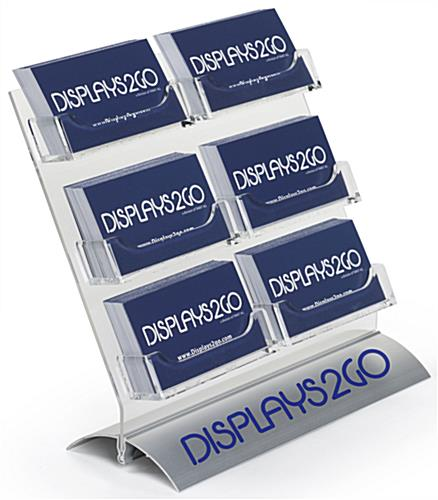 Multi-Pocket Card Display with Custom Logo, 6 Compartments