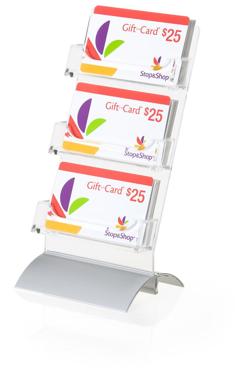 Acrylic Gift Card Display 3 Vertical Pockets Silver Base