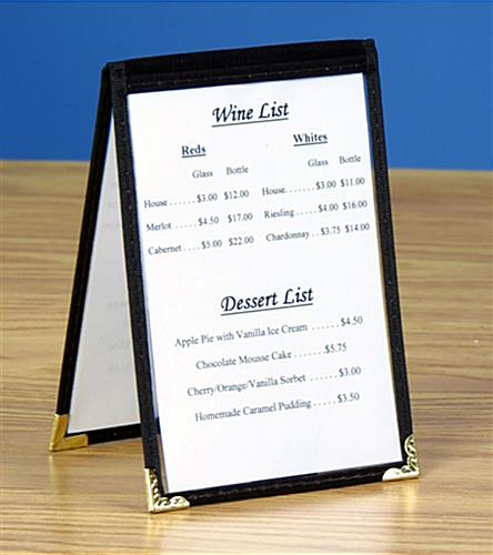 ... black table tent for a tabletop & Table Tent Menu Holder - Black Vinyl Leatherette