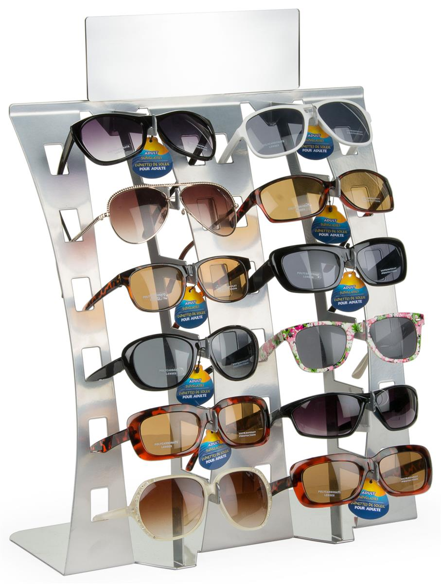 sunglass display rack silver countertop holder for 12