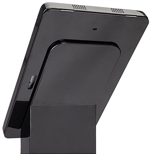 Floor standing custom Surface Pro stand display with accessible camera