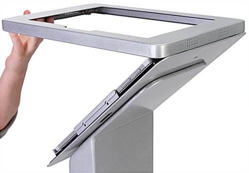 Microsoft Surface floor stand with graphic and hinged tablet enclosure