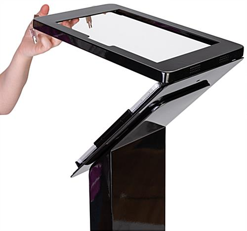 Surface Pro lockable floor stand with hinged enclosure