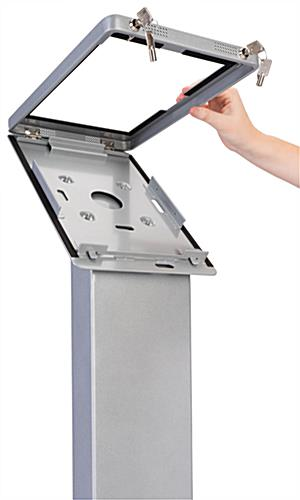 Pillar base Surface Pro floor stand enclosure with locks