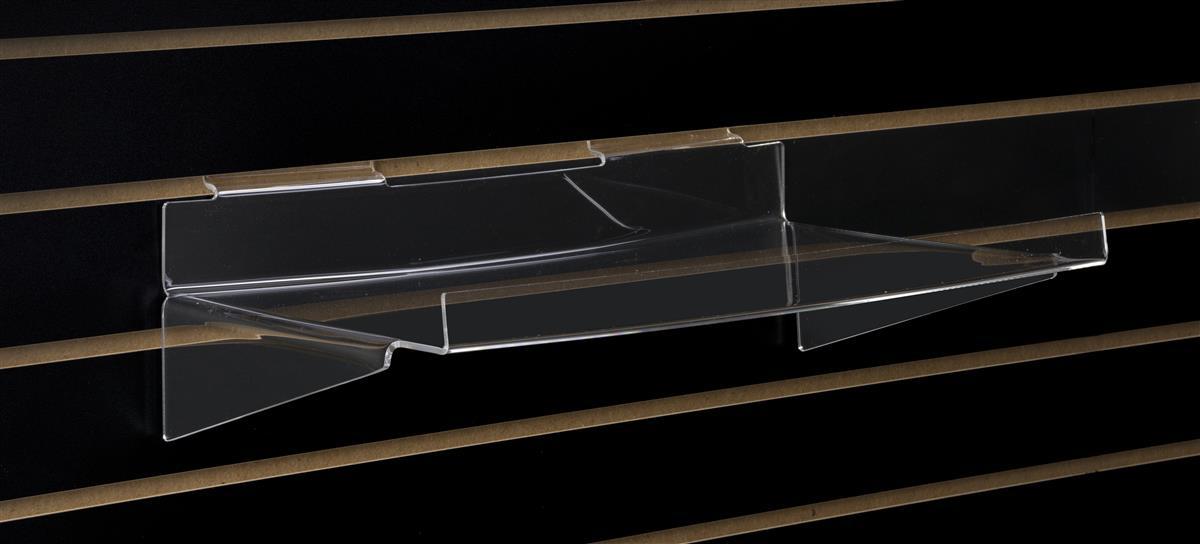slatwall acrylic shelving with lip angled shelf with base support rh displays2go com acrylic slatwall shelves with lip acrylic slatwall shelves trays and bins