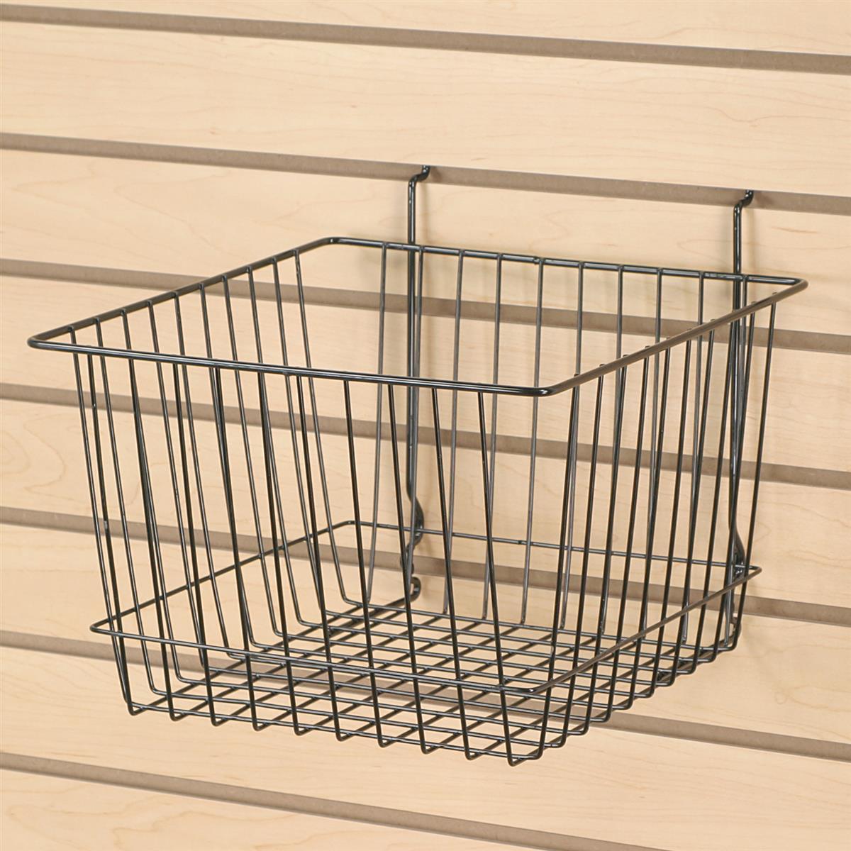 slatwall gridwall wire basket hanging merchandising bin. Black Bedroom Furniture Sets. Home Design Ideas