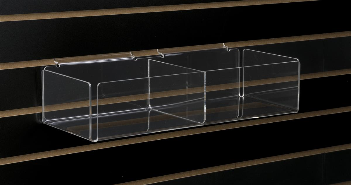 Two Compartment Slatwall Bin Clear Acrylic