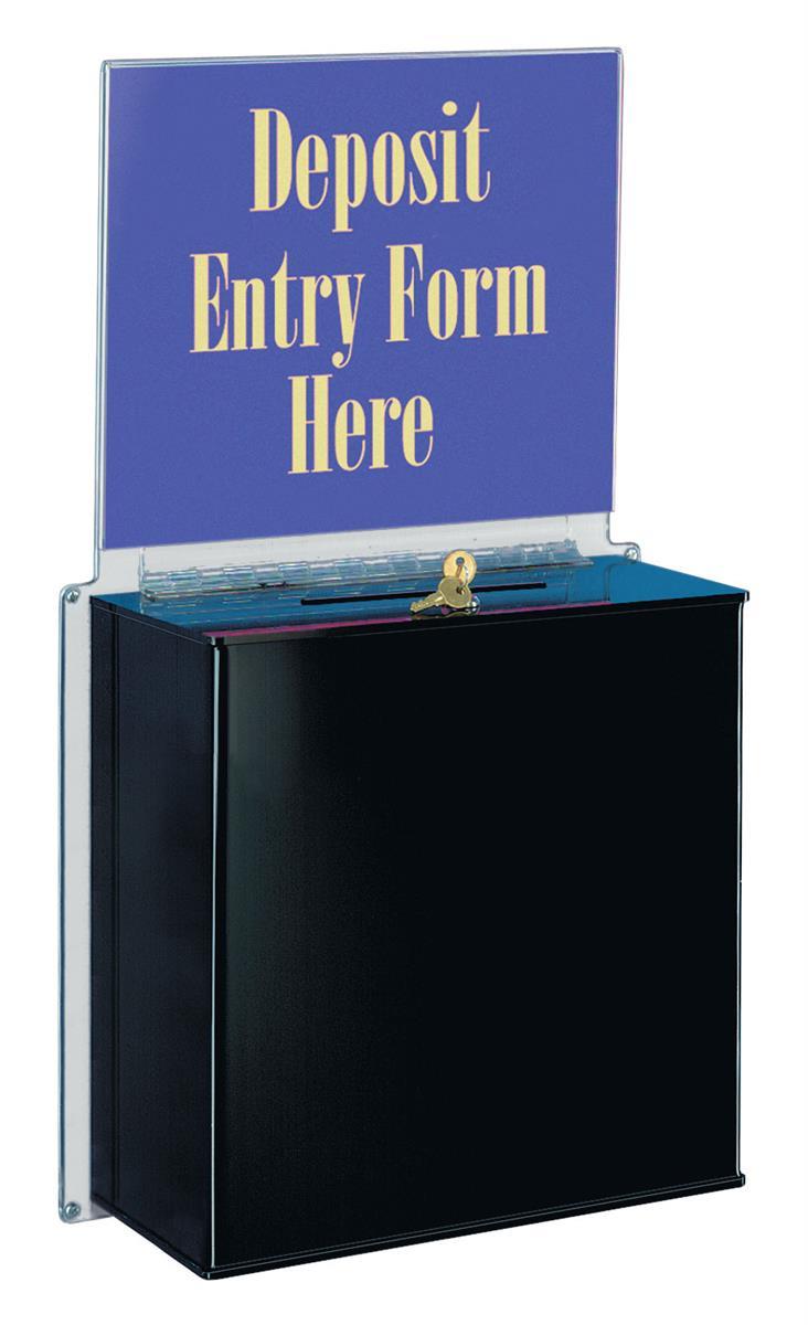 Displays2go Acrylic Ballot Box with 14 x 11 Header, Lock,...
