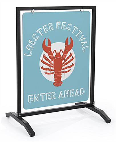 22x28 custom metal sidewalk hanger stand including printing