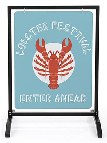 22x28 black metal sidewalk sign holder for panel