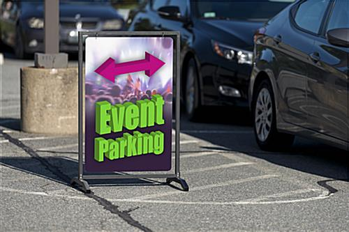 Outdoor 24x36 custom swinging black sidewalk hang sign