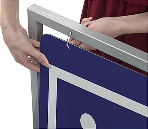 30x40 swinging silver metal sidewalk sign holder with ring attachments