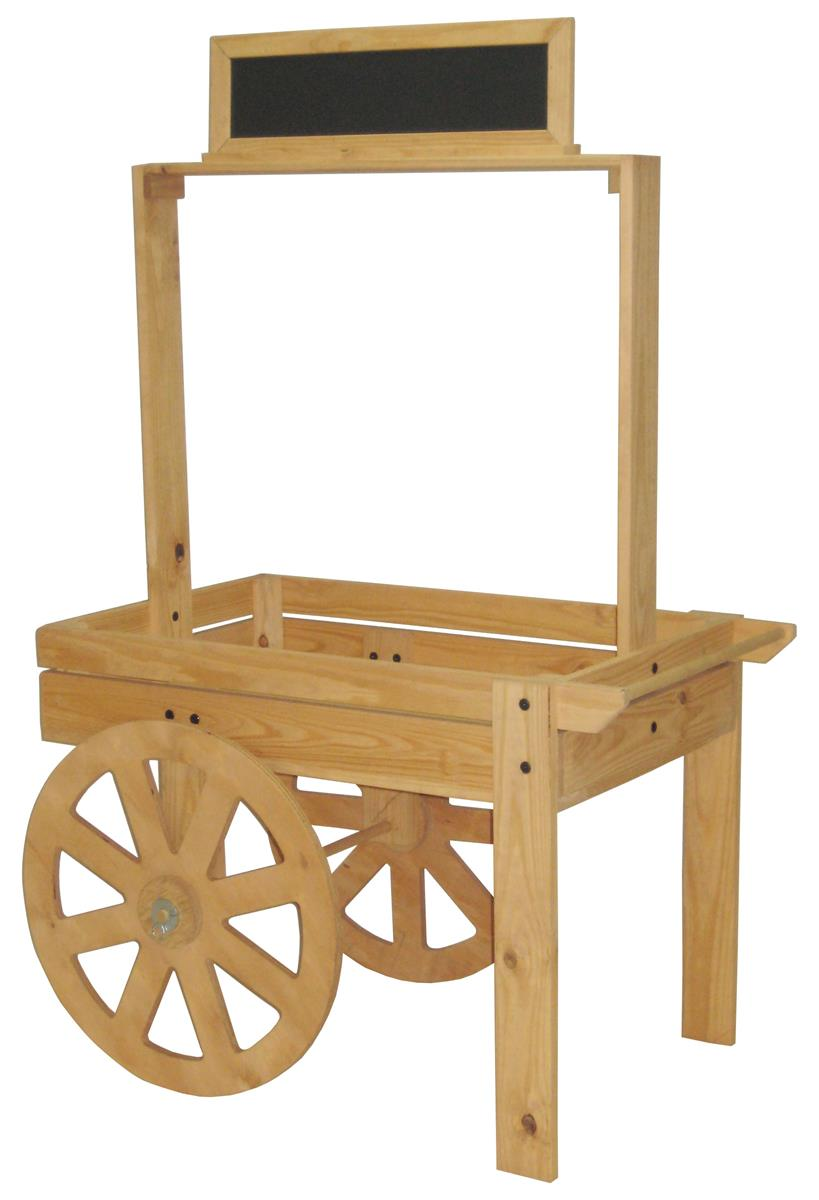 Wood vendor cart chalk board header wooden wheels for Woodworking cart