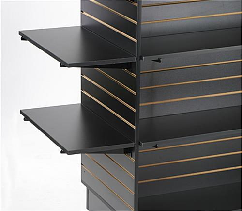 black slatwall shelves
