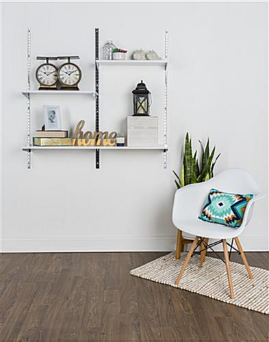 "12"" White Wall Display Shelving with 24"" Width"