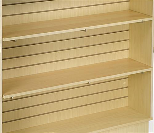 maple slat wall shelving