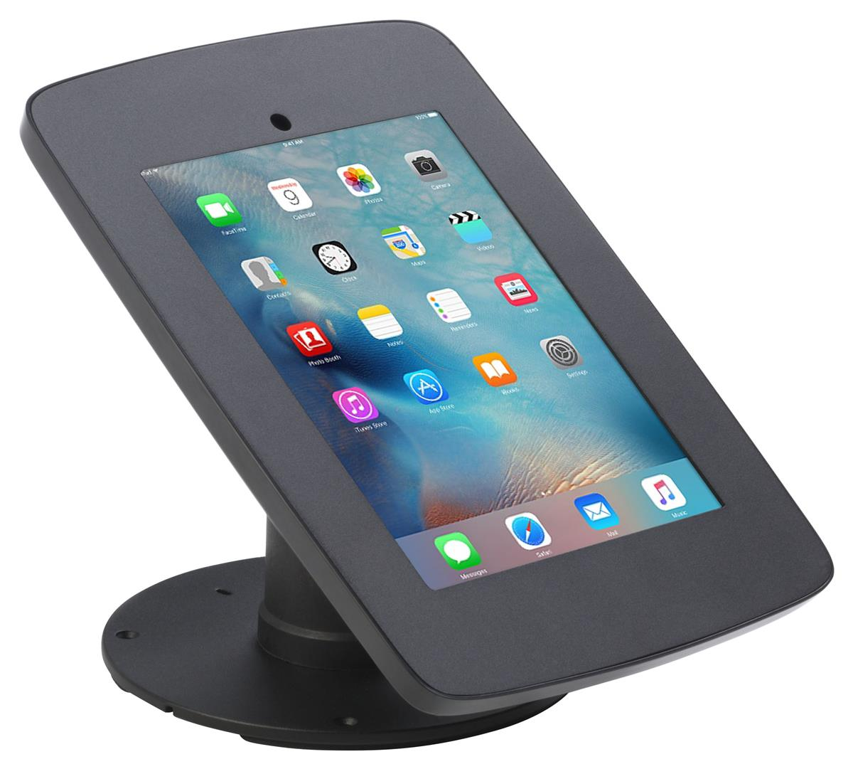 iPad Counter Stand w/ Flip Screen Share, Locked Enclosure, Hidden Home  Button - Black