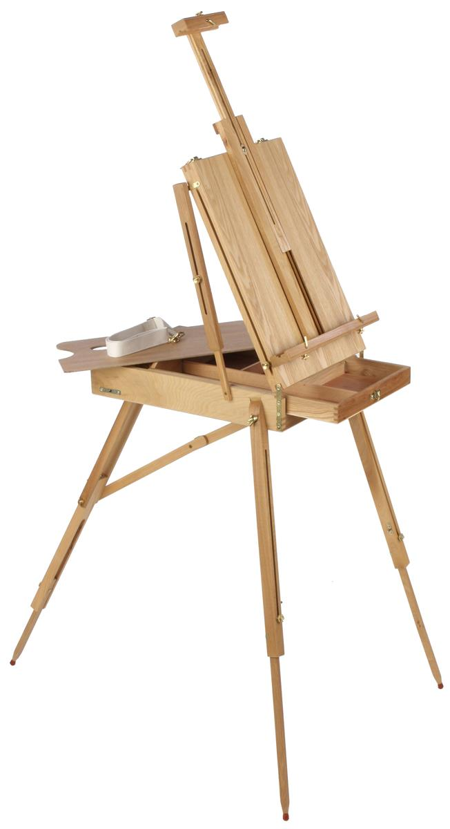 Displays2go Wood Art Easel for Floor with Storage Compart...