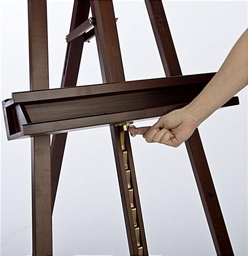 paint easel with dark cherry finish & storage tray