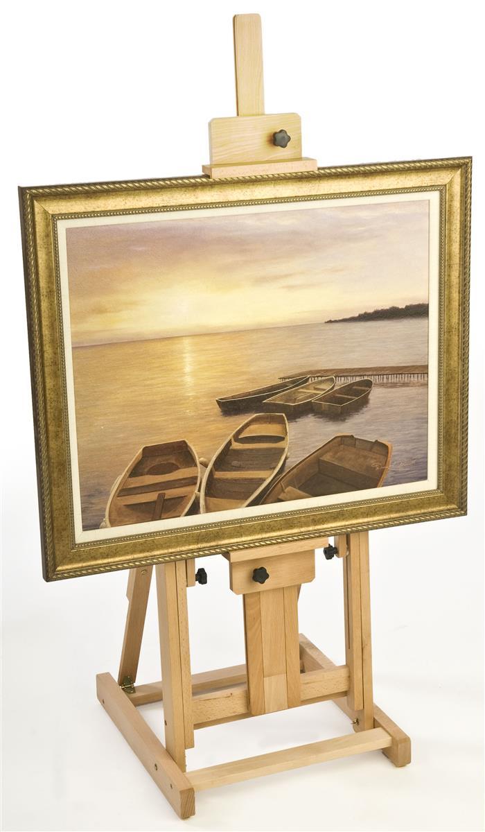 Painting Studio Easel - Natural Finish w/Horizontal-Vertical Tilt