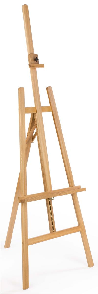 Wood Easel for Floor with Adjustable Top Clamp and Bottom Support Bar -  Natural
