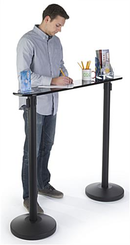 Writing Table with Retractable 2 Stanchions and Wide Space