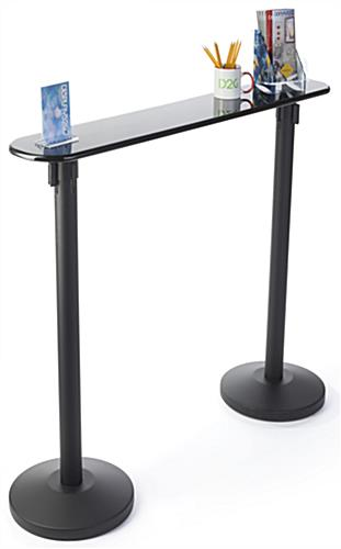 Writing Table with Retractable 2 Stanchions for Commercial Use