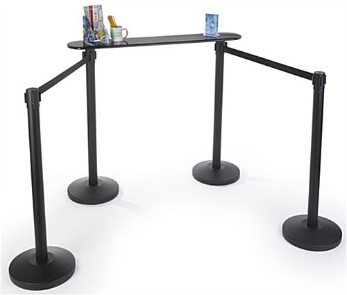 Fiberboard Queue Line Writing Surface with Stanchions
