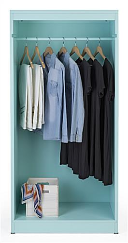 Removable rail included with modern open armoire clothing display