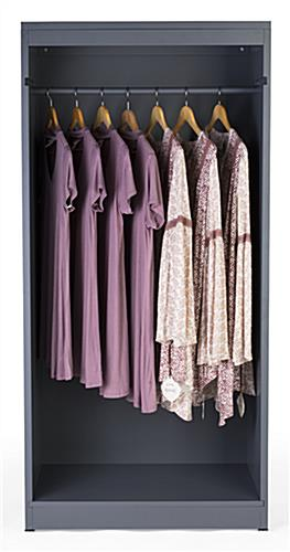 Removable garment rod included with modern open clothing display armoire