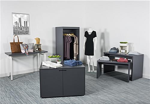 Complementary modern open clothing display armoire