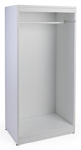 Clothing rail included with open retail garment armoire display