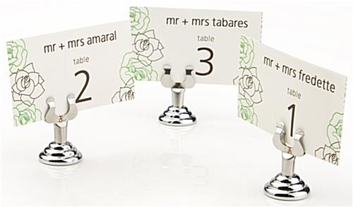 silver place card holders