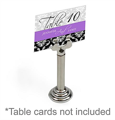 place card holder with slide in clamp for cardstock round base