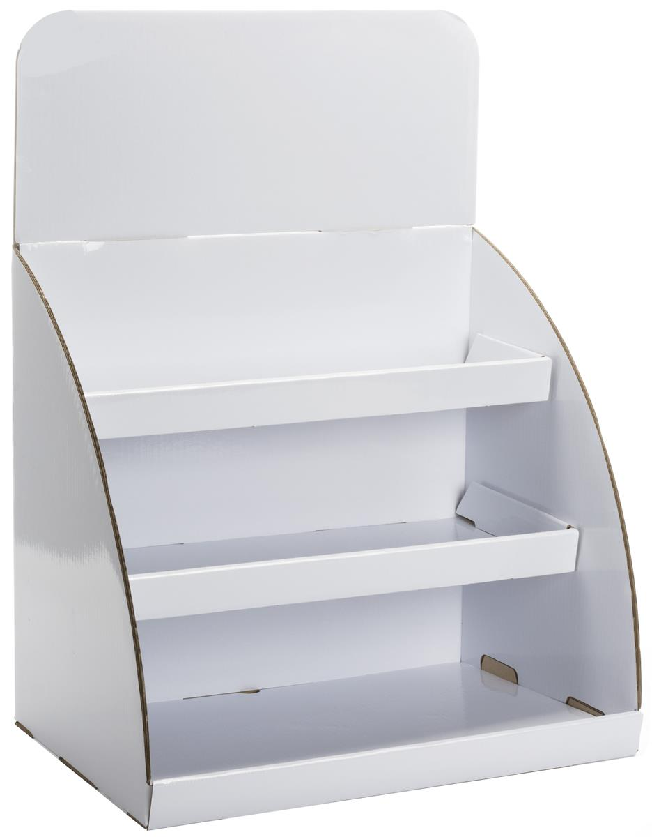 Tabletop Cardboard Display Shiny White With Removable Header