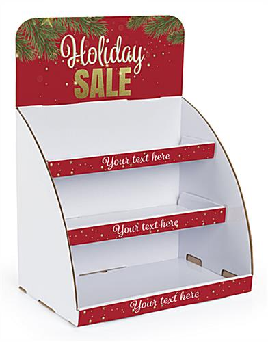 Holiday Sale cardboard display shelves with pre-designed header