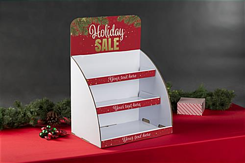 Holiday Sale cardboard display shelves with custom shelf text