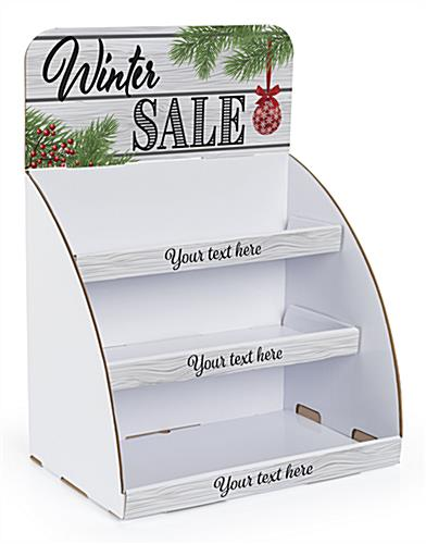 """Winter Sale"" cardboard display shelves with custom text option"