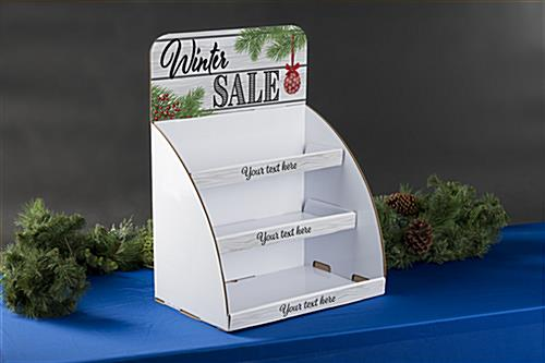 "Easy to assemble knock-down ""Winter Sale"" cardboard display shelves"