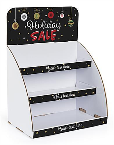 Holiday Sale cardboard display stand with pre-designed header