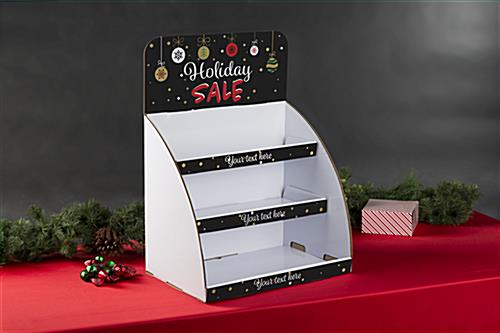 Holiday Sale cardboard display stand with custom text on shelves