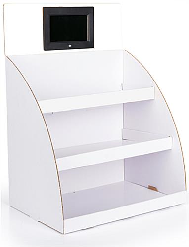 Digital cardboard tiered counter display stand with corrugated construction